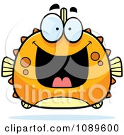Clipart Chubby Grinning Orange Blowfish Royalty Free Vector Illustration