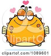 Clipart Chubby Infatuated Orange Blowfish Royalty Free Vector Illustration