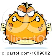 Clipart Chubby Mean Orange Blowfish Royalty Free Vector Illustration by Cory Thoman