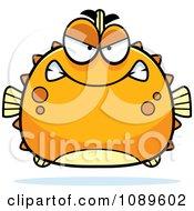 Clipart Chubby Mean Orange Blowfish Royalty Free Vector Illustration