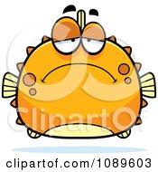 Clipart Chubby Depressed Orange Blowfish Royalty Free Vector Illustration
