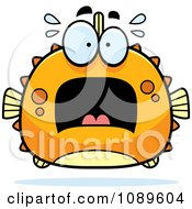 Clipart Chubby Scared Orange Blowfish Royalty Free Vector Illustration