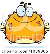 Clipart Chubby Smiling Orange Blowfish Royalty Free Vector Illustration