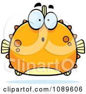 Clipart Chubby Surprised Orange Blowfish Royalty Free Vector Illustration by Cory Thoman
