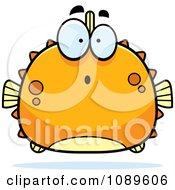 Clipart Chubby Surprised Orange Blowfish Royalty Free Vector Illustration