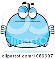 Clipart Chubby Bored Blue Fish Royalty Free Vector Illustration by Cory Thoman