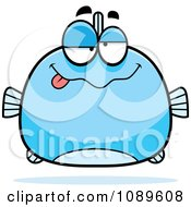 Clipart Chubby Drunk Blue Fish Royalty Free Vector Illustration by Cory Thoman