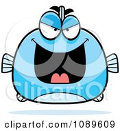 Clipart Chubby Evil Blue Fish Royalty Free Vector Illustration by Cory Thoman