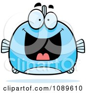 Clipart Chubby Grinning Blue Fish Royalty Free Vector Illustration