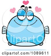 Clipart Chubby Infatuated Blue Fish Royalty Free Vector Illustration by Cory Thoman