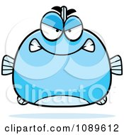 Clipart Chubby Mad Blue Fish Royalty Free Vector Illustration