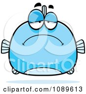 Clipart Chubby Sad Blue Fish Royalty Free Vector Illustration