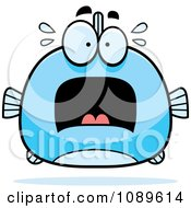 Clipart Chubby Scared Blue Fish Royalty Free Vector Illustration by Cory Thoman