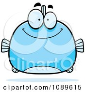 Clipart Chubby Smiling Blue Fish Royalty Free Vector Illustration by Cory Thoman