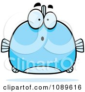 Clipart Chubby Surprised Blue Fish Royalty Free Vector Illustration by Cory Thoman