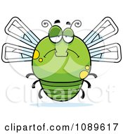 Clipart Chubby Sad Green Dragonfly Royalty Free Vector Illustration by Cory Thoman