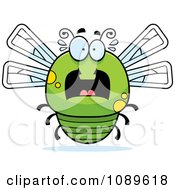 Clipart Chubby Scared Green Dragonfly Royalty Free Vector Illustration by Cory Thoman