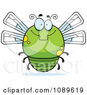 Clipart Chubby Smiling Green Dragonfly Royalty Free Vector Illustration