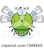 Clipart Chubby Surprised Green Dragonfly Royalty Free Vector Illustration by Cory Thoman