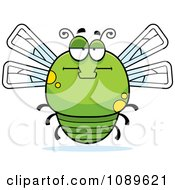 Clipart Chubby Bored Green Dragonfly Royalty Free Vector Illustration by Cory Thoman