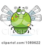 Clipart Chubby Drunk Green Dragonfly Royalty Free Vector Illustration by Cory Thoman