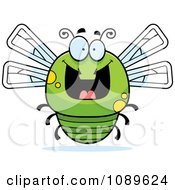Clipart Chubby Grinning Green Dragonfly Royalty Free Vector Illustration by Cory Thoman