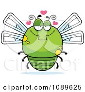 Clipart Chubby Infatuated Green Dragonfly Royalty Free Vector Illustration