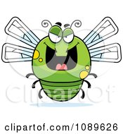 Clipart Chubby Evil Green Dragonfly Royalty Free Vector Illustration by Cory Thoman
