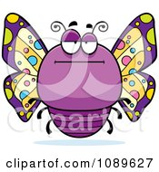 Clipart Chubby Bored Purple Butterfly Royalty Free Vector Illustration