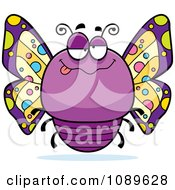 Clipart Chubby Drunk Purple Butterfly Royalty Free Vector Illustration