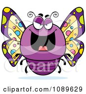 Clipart Chubby Evil Purple Butterfly Royalty Free Vector Illustration