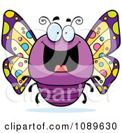 Clipart Chubby Grinning Purple Butterfly Royalty Free Vector Illustration
