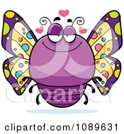 Clipart Chubby Infatuated Purple Butterfly Royalty Free Vector Illustration