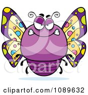 Clipart Chubby Mean Purple Butterfly Royalty Free Vector Illustration