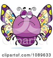 Clipart Chubby Depressed Purple Butterfly Royalty Free Vector Illustration