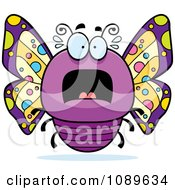Clipart Chubby Scared Purple Butterfly Royalty Free Vector Illustration