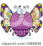 Clipart Chubby Smiling Purple Butterfly Royalty Free Vector Illustration by Cory Thoman