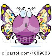 Clipart Chubby Surprised Purple Butterfly Royalty Free Vector Illustration