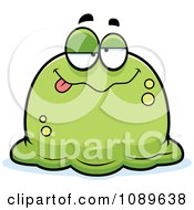 Clipart Pudgy Drunk Green Blob Royalty Free Vector Illustration by Cory Thoman