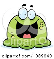 Clipart Pudgy Grinning Green Blob Royalty Free Vector Illustration