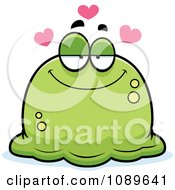 Clipart Pudgy Infatuated Green Blob Royalty Free Vector Illustration by Cory Thoman