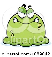 Clipart Pudgy Mad Green Blob Royalty Free Vector Illustration by Cory Thoman