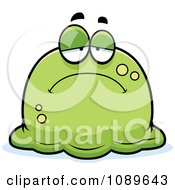 Clipart Pudgy Sad Green Blob Royalty Free Vector Illustration by Cory Thoman