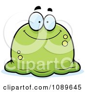 Clipart Pudgy Smiling Green Blob Royalty Free Vector Illustration