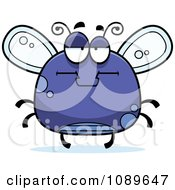 Clipart Chubby Bored Purple Fly Royalty Free Vector Illustration