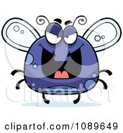 Clipart Chubby Evil Purple Fly Royalty Free Vector Illustration