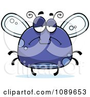Clipart Chubby Sad Purple Fly Royalty Free Vector Illustration