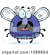 Clipart Chubby Scared Purple Fly Royalty Free Vector Illustration