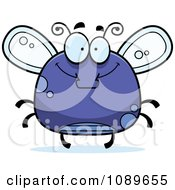 Clipart Chubby Happy Purple Fly Royalty Free Vector Illustration