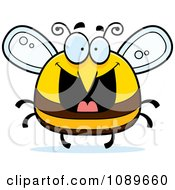 Clipart Pudgy Grinning Bee Royalty Free Vector Illustration